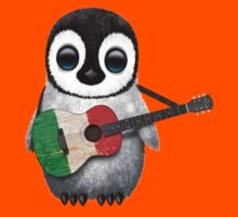 Baby Penguin Playing Italian Flag Guitar Kids Clothes
