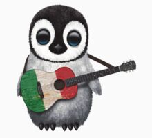 Baby Penguin Playing Italian Flag Guitar Kids Tee
