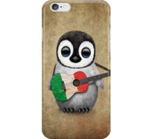 Baby Penguin Playing Italian Flag Guitar iPhone Case/Skin