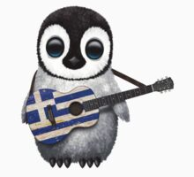 Baby Penguin Playing Greek Flag Guitar Kids Clothes