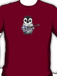 Baby Penguin Playing Greek Flag Guitar T-Shirt