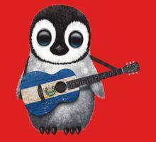Baby Penguin Playing El Salvador Flag Guitar One Piece - Short Sleeve
