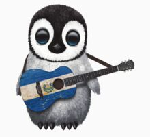Baby Penguin Playing El Salvador Flag Guitar One Piece - Long Sleeve