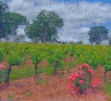 Vineyard Roses in a Van Gogh Landscape by shutterbug941