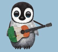 Baby Penguin Playing Irish Flag Guitar Kids Clothes