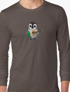 Baby Penguin Playing Irish Flag Guitar Long Sleeve T-Shirt