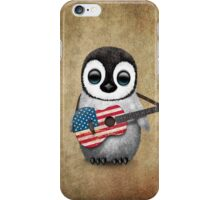 Baby Penguin Playing American Flag Guitar iPhone Case/Skin