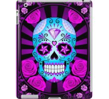 Blue and Purple Sugar Skull with Roses  iPad Case/Skin