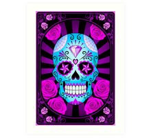 Blue and Purple Sugar Skull with Roses  Art Print