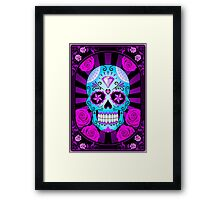 Blue and Purple Sugar Skull with Roses  Framed Print