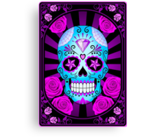 Blue and Purple Sugar Skull with Roses  Canvas Print