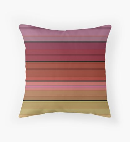 Colorful striped pattern in red and brown tones .  Throw Pillow