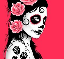 Pink Day of the Dead Sugar Skull Girl by Jeff Bartels