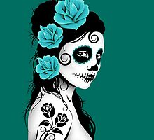 Teal Blue Day of the Dead Sugar Skull Girl by Jeff Bartels