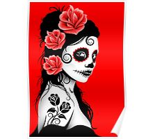 Red Day of the Dead Sugar Skull Girl Poster