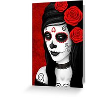 Day of the Dead Girl with Red Roses  Greeting Card