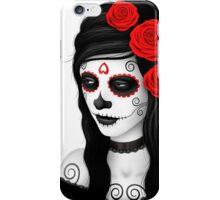 Day of the Dead Girl with Red Roses on White iPhone Case/Skin