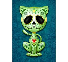 Green Zombie Sugar Kitten Cat Photographic Print