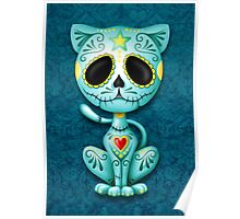Blue Zombie Sugar Kitten Cat Poster