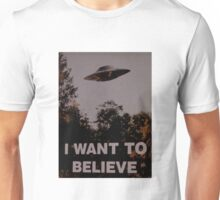 """X FILES """"I WANT TO BELIEVE"""" Unisex T-Shirt"""