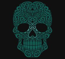 Teal Blue Swirling Sugar Skull T-Shirt