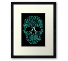 Teal Blue Swirling Sugar Skull Framed Print