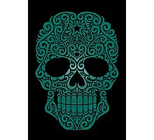 Teal Blue Swirling Sugar Skull Photographic Print