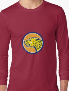 Jaguar Head Side Growling Circle Retro Long Sleeve T-Shirt