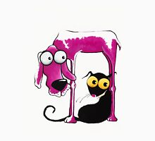 Stressie Cat and the pink dog Unisex T-Shirt