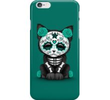 Cute Teal Blue Day of the Dead Kitten Cat iPhone Case/Skin