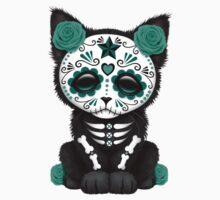 Cute Teal Blue Day of the Dead Kitten Cat Kids Clothes