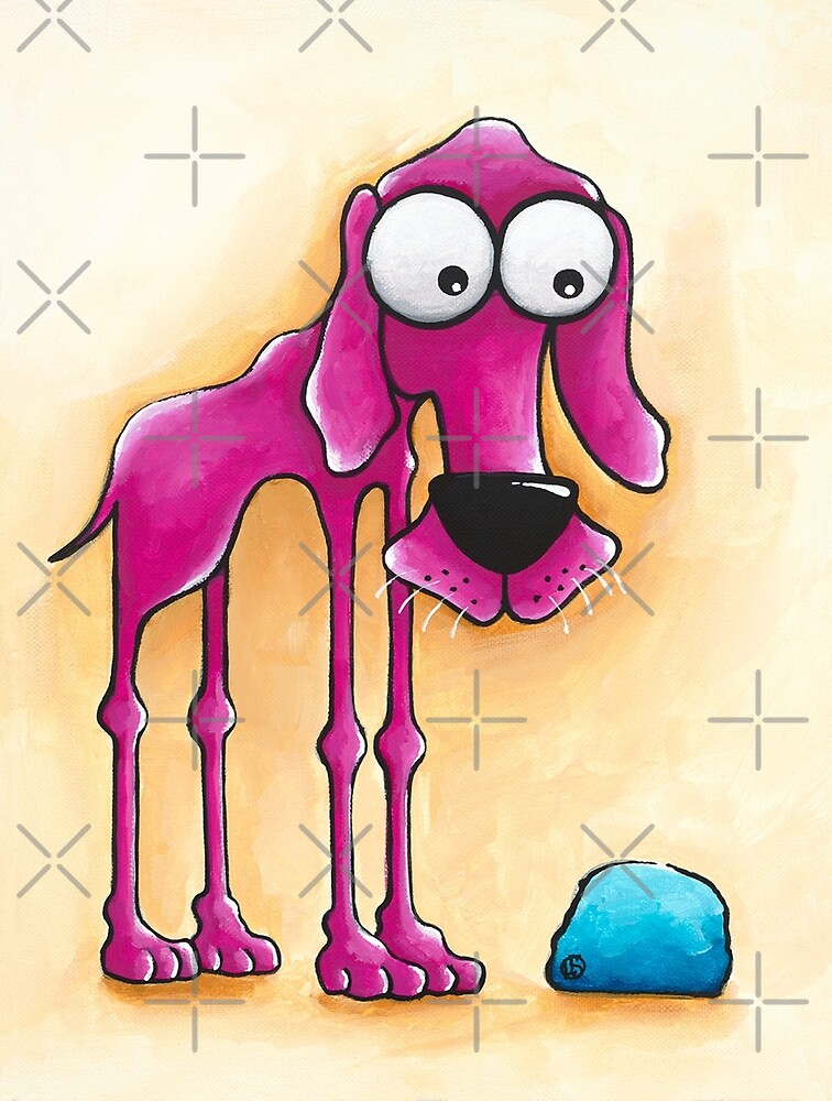 The Pink Dog and his ball by StressieCat