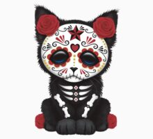Cute Red Day of the Dead Kitten Cat Kids Clothes