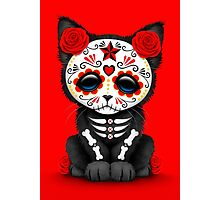 Cute Red Day of the Dead Kitten Cat Photographic Print