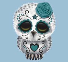 Cute Teal Blue Day of the Dead Sugar Skull Owl Kids Clothes