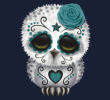 Cute Teal Blue Day of the Dead Sugar Skull Owl One Piece - Long Sleeve