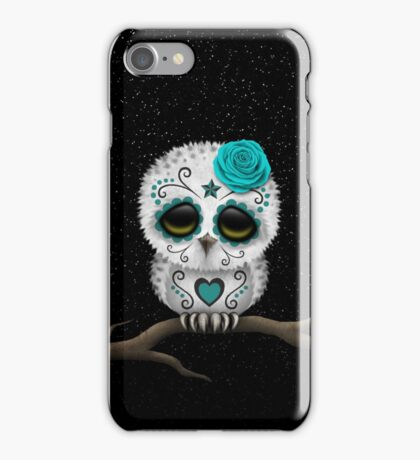 Cute Teal Blue Day of the Dead Sugar Skull Owl iPhone Case/Skin
