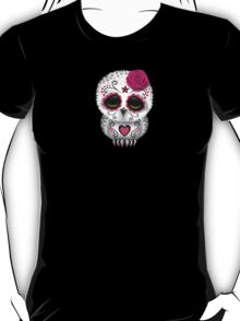 Cute Pink Day of the Dead Sugar Skull Owl T-Shirt