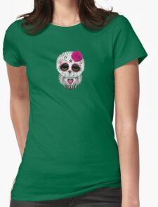 Cute Pink Day of the Dead Sugar Skull Owl Womens T-Shirt