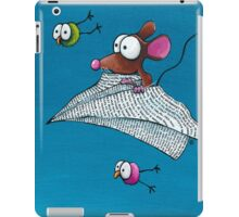 Mouse in a paper aeroplane iPad Case/Skin