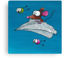 Mouse in a paper aeroplane Canvas Print