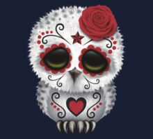 Cute Red Day of the Dead Sugar Skull Owl Kids Tee