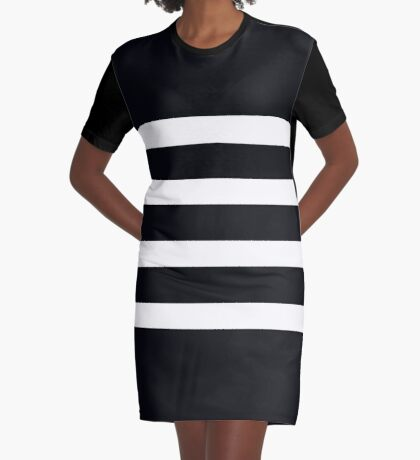 Modern Black and White Stripe Graphic T-Shirt Dress