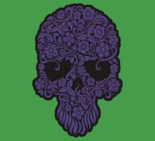 Purple Flowers and Vines Sugar Skull Design Kids Clothes