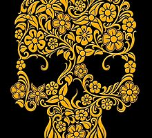Yellow Flowers and Vines Sugar Skull Design by Jeff Bartels
