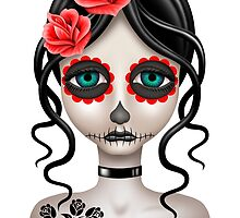 Sad Day of the Dead Girl on White by Jeff Bartels