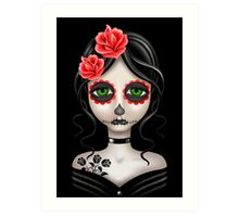 Sad Day of the Dead Girl on Black Art Print