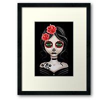 Sad Day of the Dead Girl on Black Framed Print