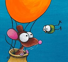 Mouse in his hot air balloon by StressieCat