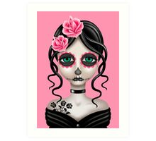 Sad Day of the Dead Girl on Pink Art Print